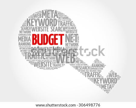 BUDGET Key word cloud, business concept - stock vector