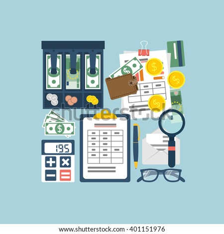 Budget planning concept. Financial accounting. Organization process. Flat style vector. Personal finance. Payment of taxes. Finance planning.  Accounting money. Financial calculation. Management. - stock vector