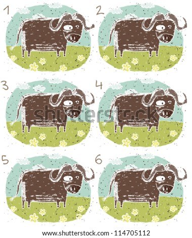 Buffalo Puzzle ... Task: Find two images that are alike! (match pairs); Answer: No. 2 and 6. - stock vector