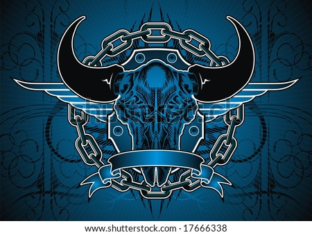 Buffalo skull and chain motif in blue. - stock vector