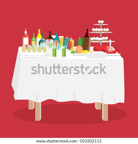 Buffet table with food and drinks. Cartoon style vector illustration isolated on white background