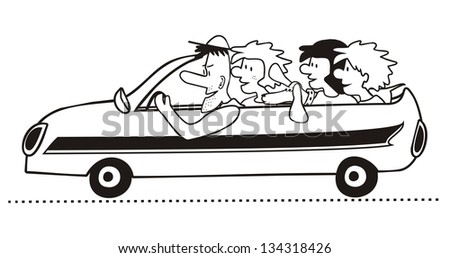 buggy black and white - stock vector