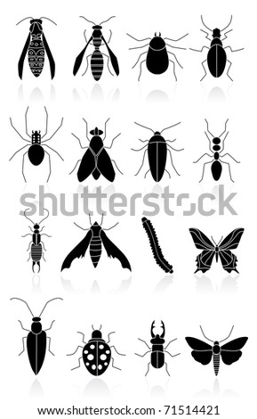 bugs icons black - stock vector