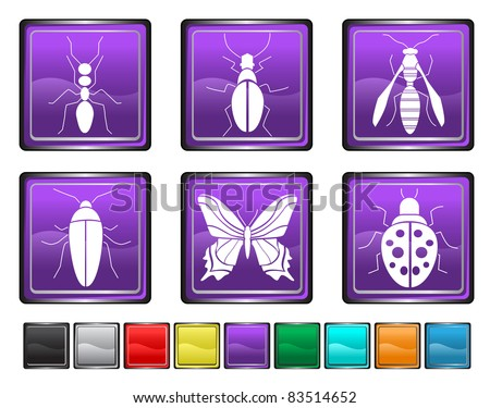 bugs icons,each color icon is set on a different layer - stock vector