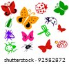 Bugs. insect. illustration with insects isolated on white background. Set of various insects. Butterflies, bug, dragonfly, ant, spider, ladybird. - stock vector