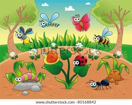 Bugs + 1 snail with background. Funny cartoon and vector illustration, isolated characters. - stock vector