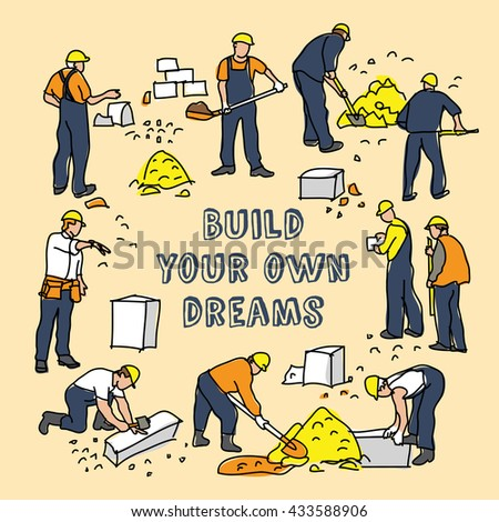 Build dreams sign frame and construction worker card. Color vector illustration. EPS8 - stock vector
