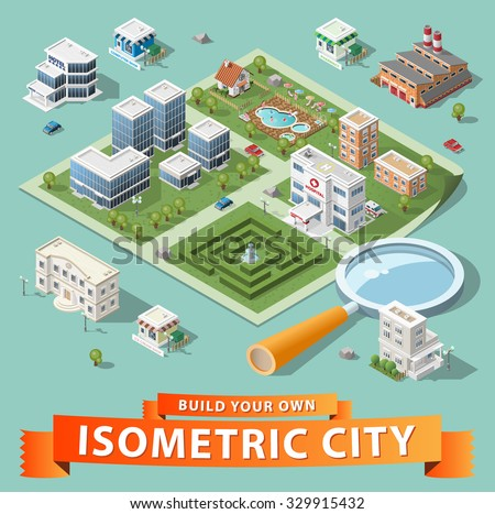 Build Your Own Isometric City. High Quality Vector Elements. - stock vector