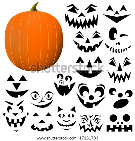 Build your own Jack-O-Lantern. Pumpkin and face pieces are interchangeable and can be scaled to any size. - stock vector