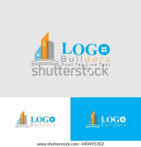 Builder and Construction Logo with building icons  - stock vector