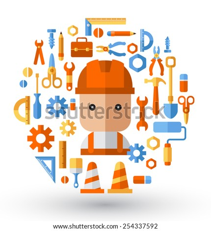 Builder and working tools :Flat Illustration - stock vector