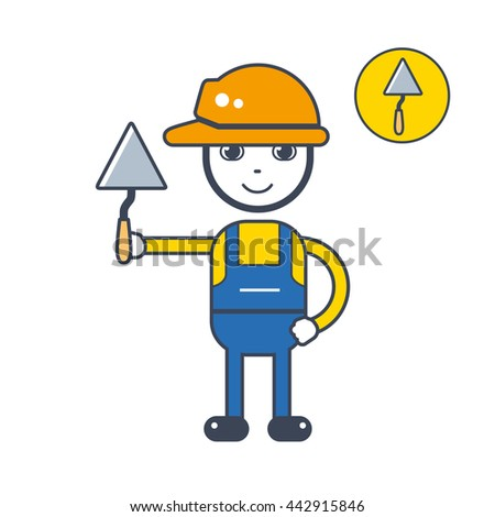 Builder character in a safety helmet holding a trowel tool, icon isolated. - stock vector