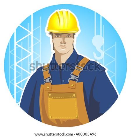 Builder construction worker in protective wear and helmet.  - stock vector