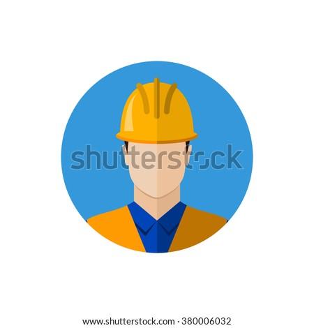 Builder construction worker in protective wear and helmet. Builder icon. Builder avatar. Flat design vector illustration - stock vector