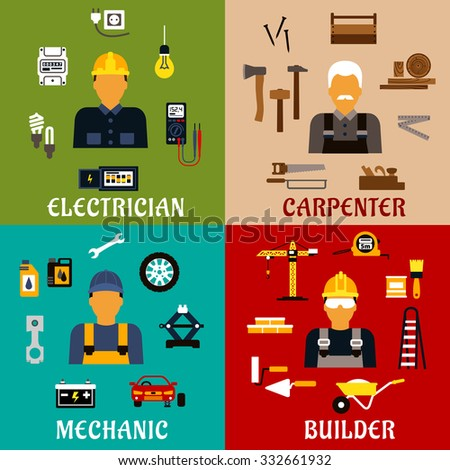 Builder, electrician, mechanic and carpenter profession flat icons showing men with hand and power tools, equipment and industrial symbols - stock vector