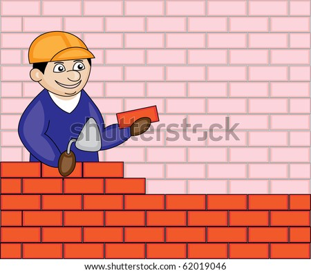 builder holding a brick and trowel