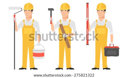 Builder holding instruments hammer roller level - stock vector