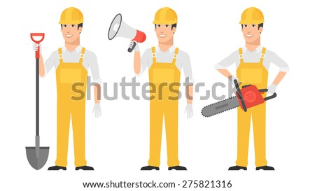 Builder holding shovel megaphone chainsaw - stock vector