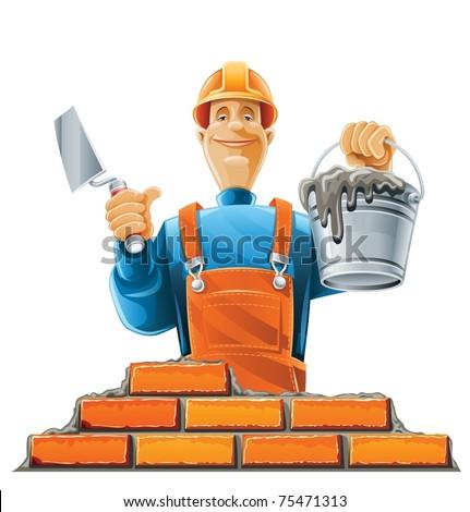 builder in helmet vector illustration isolated on white background - stock vector