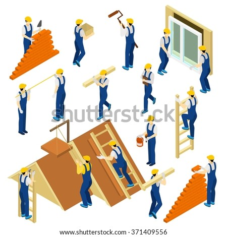 Builder isometric set with uniform materials and equipment isolated vector illustration - stock vector