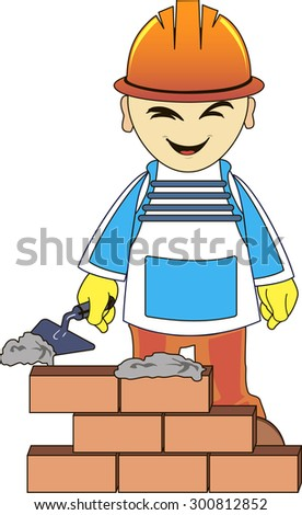 Builder or engineer in a uniform and helmet with trowel near the brick wall - stock vector