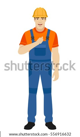 Builder pointing the finger at yourself. Self-promotion. Full length portrait of builder in a flat style. Vector illustration.