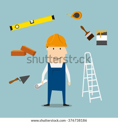 Builder profession concept with man in yellow hard helmet and overalls with trowel, brick and measuring tape, folding ladder and level tool, paintbrush with paint can and wheelbarrow - stock vector