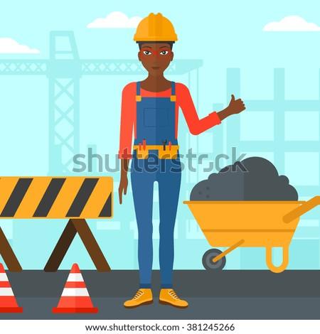 Builder showing thumbs up. - stock vector