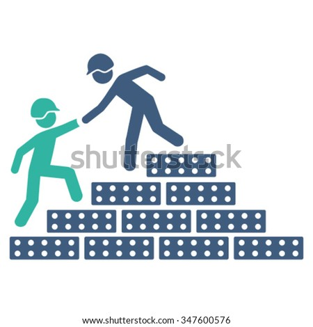 Builder Stairs Help vector icon. Style is bicolor flat symbol, cobalt and cyan colors, rounded angles, white background. - stock vector