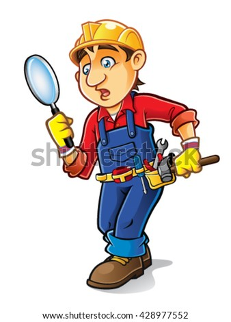 builder was confused looking for something with a magnifying glass - stock vector