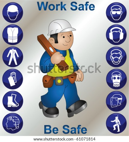 Builder wearing personal protection equipment and safety icons - stock vector