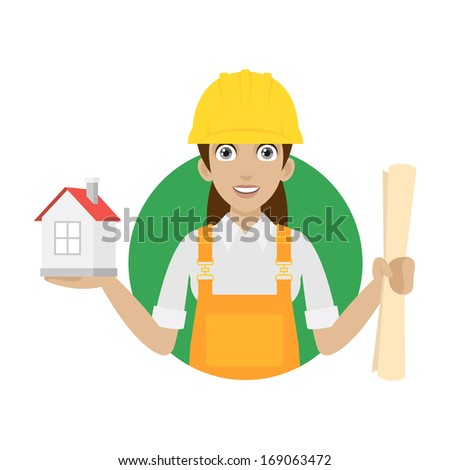 Builder woman keeps house and plan - stock vector