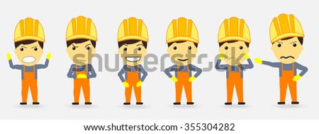 builders and emotions. anger joy happiness vector - stock vector