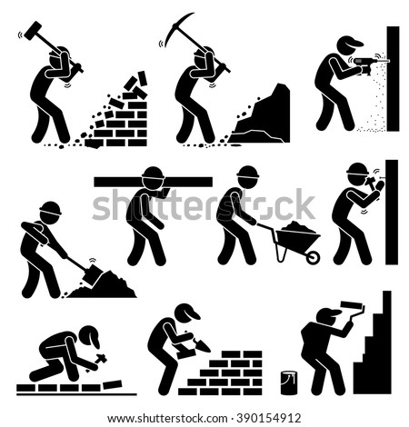 Builders Constructors Workers Building Houses with Tools and Equipment at Construction Site  - stock vector