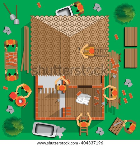 Builders working on the construction of the house. View from above. Vector illustration. Applique with realistic shadows. - stock vector