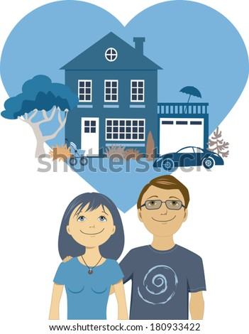 Building a life together. Cute cartoon couple dreaming of a perfect home and a future together, vector illustration - stock vector