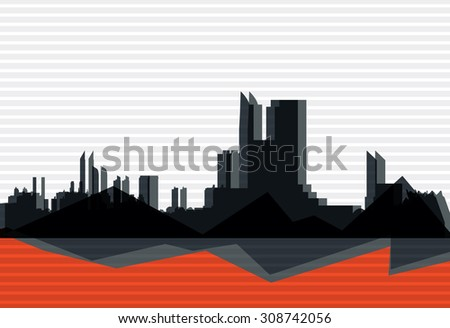 Building and City Illustration or Industrial background - stock vector