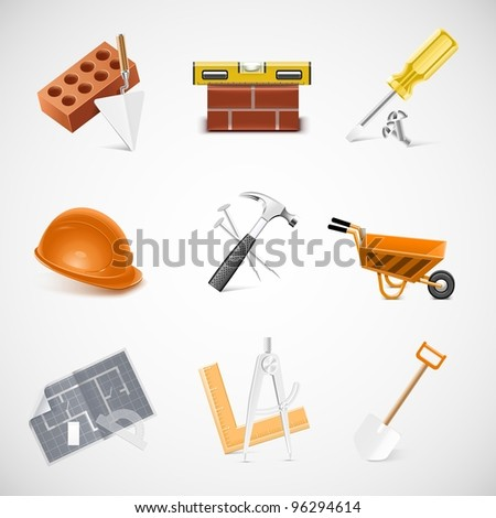 building and construction detailed vector icon set - stock vector
