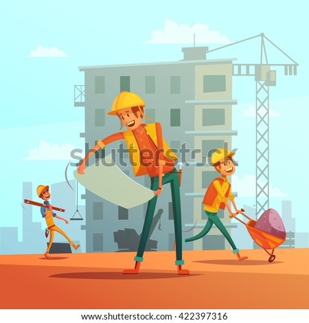 Building and construction industry cartoon background with workers tools and equipment vector illustration  - stock vector