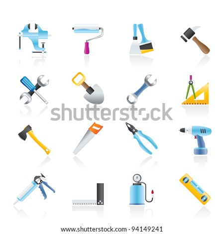 Building and Construction work tool icons - vector icon set - stock vector
