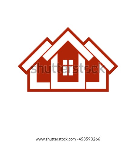 Building and engineering creative element for use in web and graphic design. Real estate agency, home insurance idea symbol. Abstract vector house.