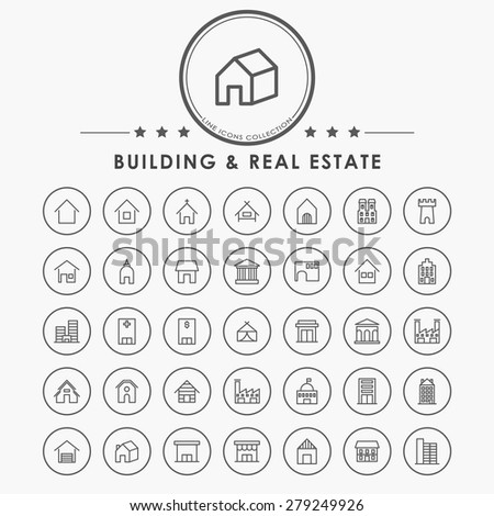 building and real estate minimal line icons with circle button - stock vector