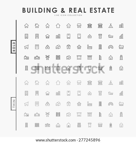 building and real estate on bold and thin line icons concept - stock vector