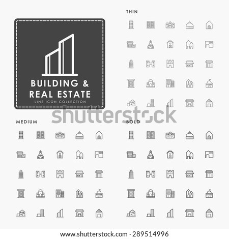 building and real estate on thin, medium and bold line icon concept - stock vector