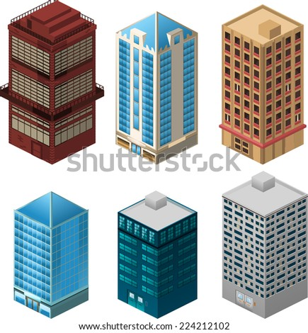 Building apartment house construction condo residence tower penthouse collection vector illustration cartoon.