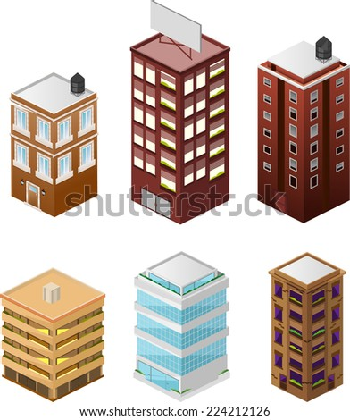 Building apartment house construction condo residence tower penthouse collection vector illustration. - stock vector