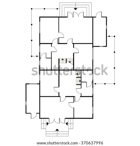 Office Floor Plan Stock Photos  Royalty Free Images  amp  Vectors    Building architectural plan of the house  Blueprint vector background  Vector technical construction project