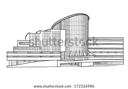 Building. Architectural sketch. Architectural background with building model. Architectural project.   - stock vector