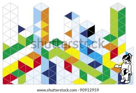 building blocks - stock vector