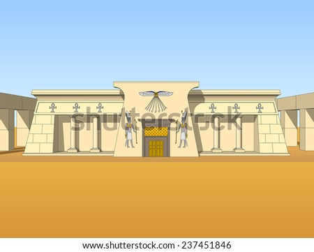 Building, built in the Egyptian style. Object, isolate.  - stock vector